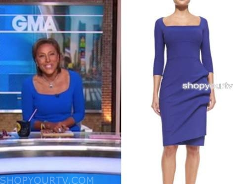good morning america, blue ruched dress, robin roberts