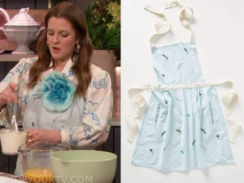 drew barrymore, drew barrymore show, blue floral apron