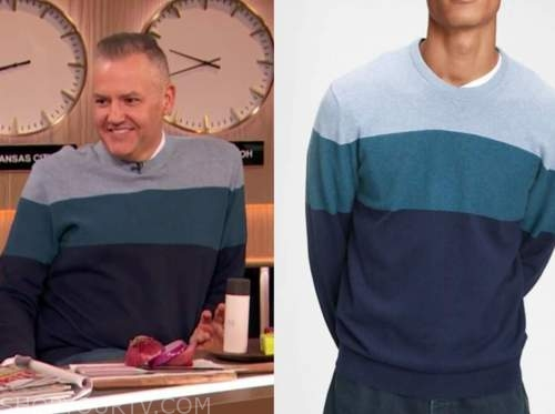 drew barrymore show, blue colorblock sweater, ross mathews