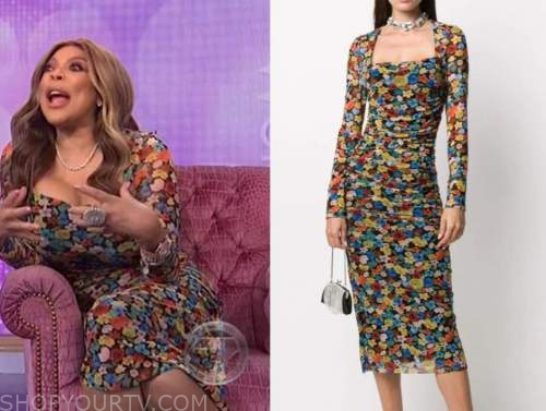 wendy williams, the wendy williams show, floral mesh square neck dress