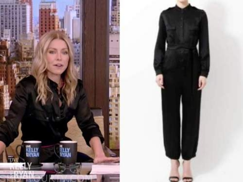 kelly ripa, live with kelly and ryan, black satin jumpsuit, pink belt