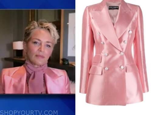 sharon stone, pink blazer, the view