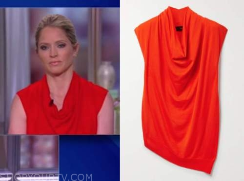 sara haines, the view, red cowl neck drape top