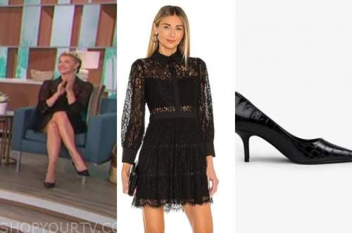 amanda kloots, the talk, black lace dress, black pumps