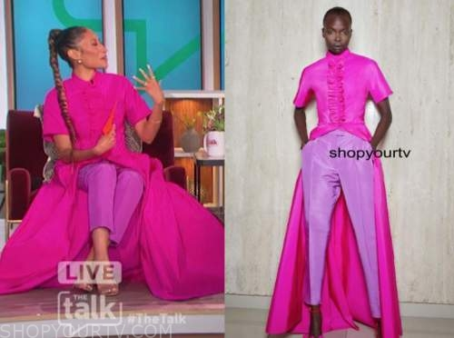 elaine welteroth, the talk, hot pink shirt dress and purple pants