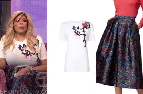 wendy williams, the wendy williams show, embroidered tee, floral skirt