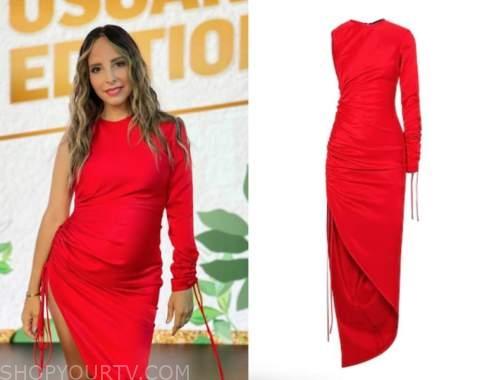 lilliana vazquez, red ruched asymmetric dress, E! news
