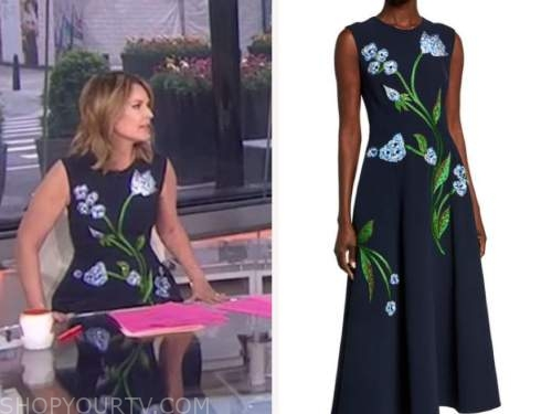 savannah guthrie, the today show, navy blue floral embroidered midi dress