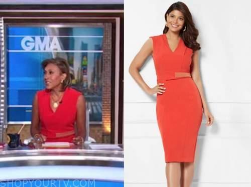good morning america, red v-neck sheath dress, robin roberts