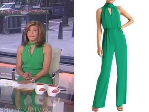 hoda kotb, the today show, green keyhole jumpsuit