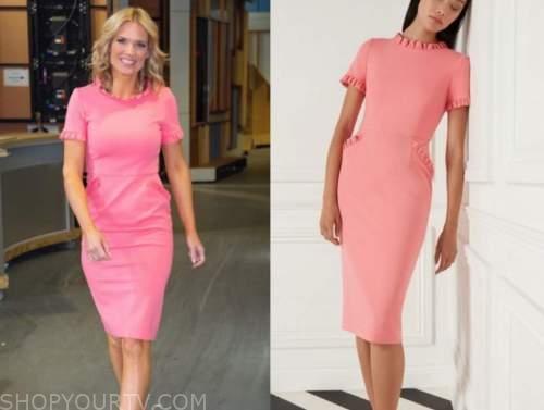 charlotte hawkins, good morning britain, coral pink ruffle trim dress