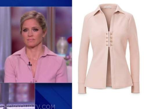 sara haines, pink collar top, the view