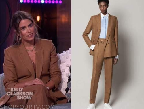 nikki reed, the kelly clarkson show, camel brown pant suit