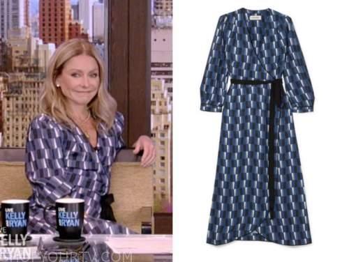kelly ripa, live with kelly and ryan, blue geometric wrap midi dress