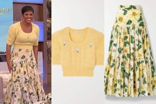 tamron hall, tamron hall show, yellow short sleeve sweater, yellow floral skirt