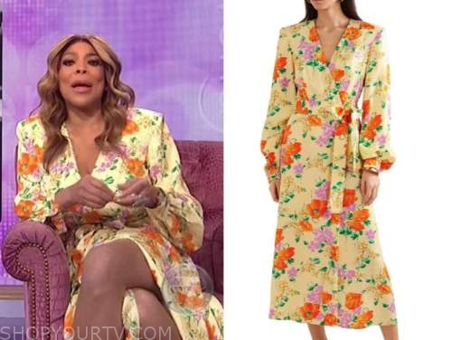 wendy williams, the wendy williams show, yellow and orange floral wrap midi dress