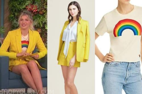 amanda kloots, the talk, rainbow top, yellow blazer, yellow shorts