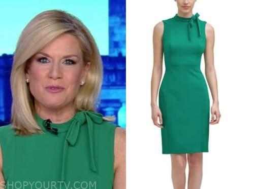 the story, green tie neck dress, martha maccallum