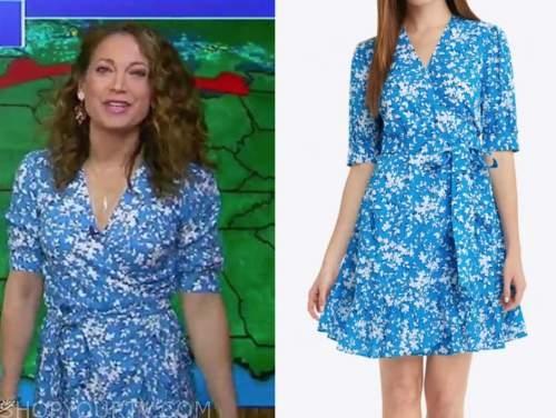 ginger zee, good morning america, blue floral wrap dress