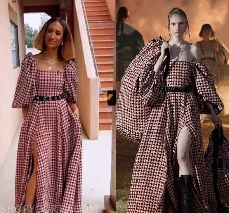 elaine welteroth, the talk, red houndstooth maxi dress