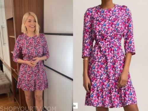 holly willoughby, this morning, pink and purple floral dress