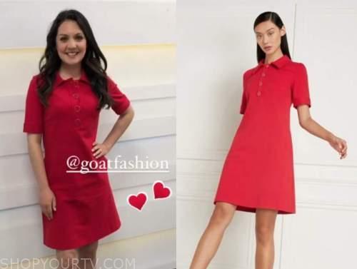 laura tobin, good morning britain, red shirt dress