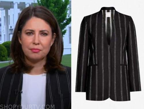 cecilia vega, good morning america, black striped blazer