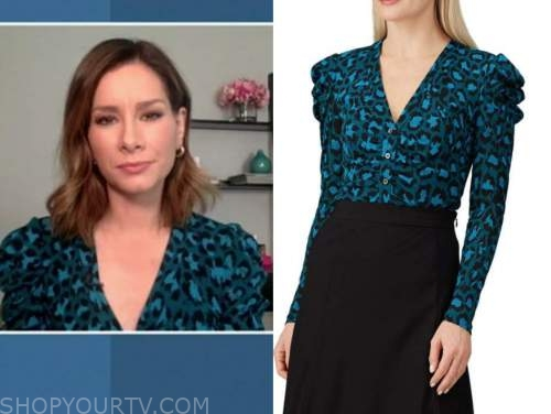 good morning america, rebecca jarvis, green and blue leopard top