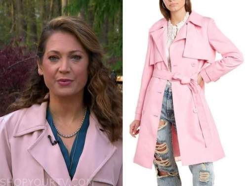 ginger zee, good morning america, pink trench coat