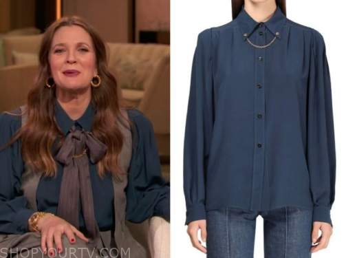 drew barrymore, drew barrymore show, blue chain collar blouse