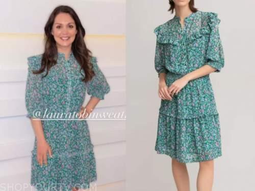 laura tobin, good morning britain, green floral ruffle dress