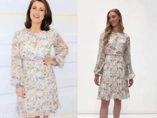 susanna reid, good morning britain, floral long sleeve dress