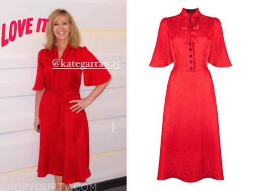 kate garraway, good morning britain, red jacquard midi dress