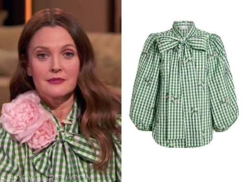 drew barrymore, drew barrymore show, green gingham tie neck blouse, oprah winfrey