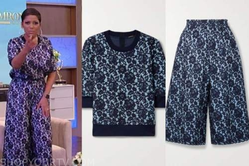 tamron hall, tamron hall show, blue and black lace top and pants