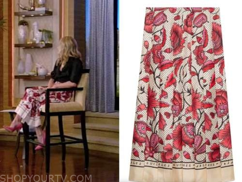kelly ripa, live with kelly and ryan, red floral pleated midi skirt