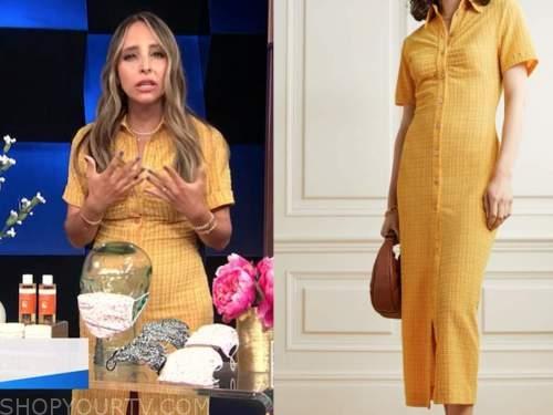 lilliana vazquez, E! news, daily pop, yellow check shirt dress