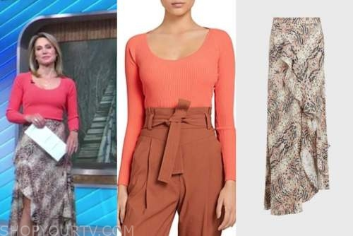 amy robach, good morning america, red scoop neck top, animal print ruffle skirt