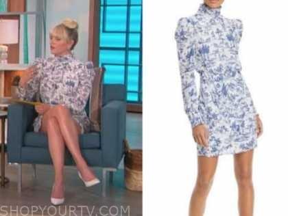 amanda kloots, blue toile mock neck dress, the talk