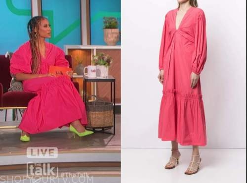 the talk, coral pink midi dress, elaine welteroth