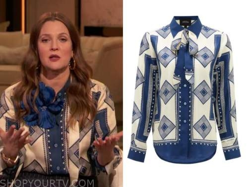drew barrymore, drew barrymore show, blue printed tie neck blouse