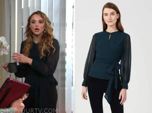 summer newman, hunter king, green blouse, the young and the restless