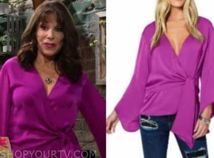 kate linder, esther valentine, the young and the restless, magenta pink wrap top