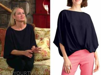 sharon newman, sharon case, the young and the restless, navy blue boatneck blouse top