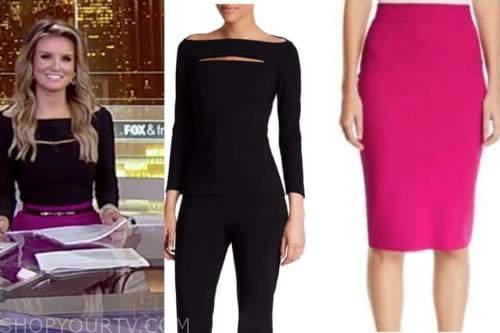 jillian mele, fox and friends, black cutout top, pink skirt