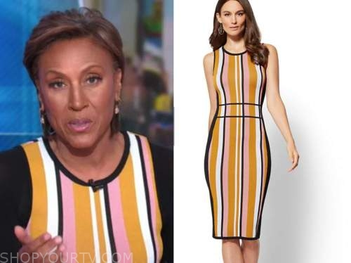 robin roberts, good morning america, orange and pink striped knit dress