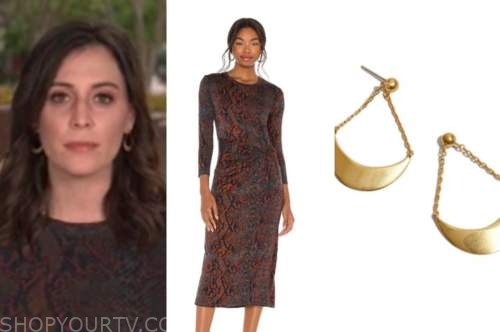 hallie jackson, the today show, brown snakeskin dress, gold earrings