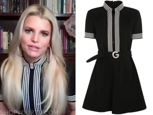jessica simpson, the drew barrymore show, black and white contrast stripe dress