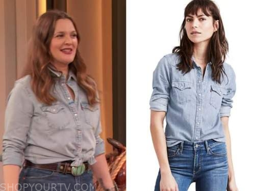 drew barrymore, drew barrymore show, chambray denim shirt