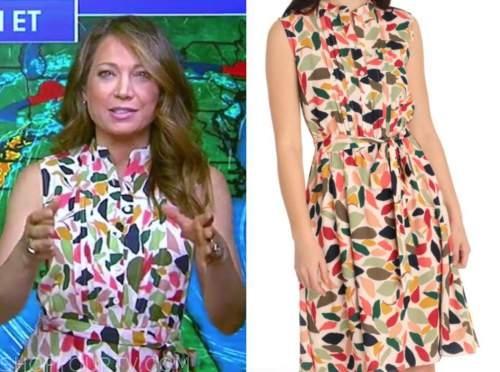ginger zee, good morning america, abstract print shirt dress